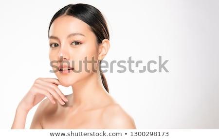 Fiatal női friss bőr fehér arc Stock fotó © Nobilior