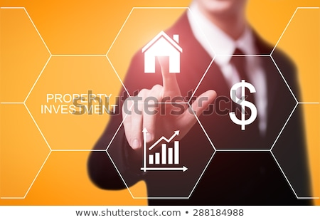 Imóveis texto tela sensível ao toque negócio computador mão Foto stock © fotoscool