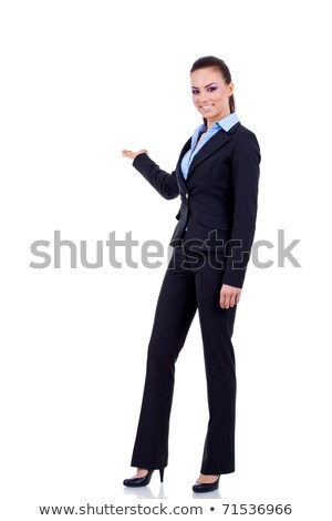 business woman presenting something on her hand stock photo © stockyimages