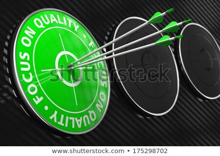 Skupić jakości slogan zielone cel trzy Zdjęcia stock © tashatuvango
