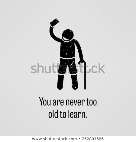 Nooit oude leren futuristische krijt Stockfoto © maxmitzu