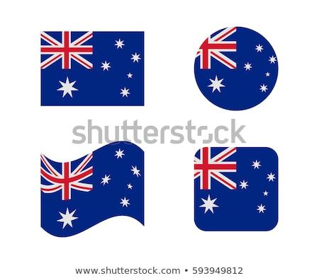 Ausztrália · zászló · ikon · izolált · fehér · kék - stock fotó © zeffss