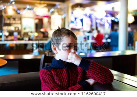 Jongen dranken frisdrank stro nacht diner Stockfoto © meinzahn