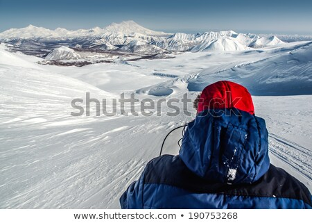 view of nalychevo nature park and zhupanovsky volcano kamchatka stock photo © amok