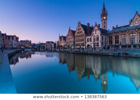 Leie river bank in Ghent, Belgium, Europe. Stock photo © kasto