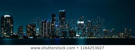 Stock fotó: Miami · sziluett · éjszaka · panoráma · panorámakép · kép