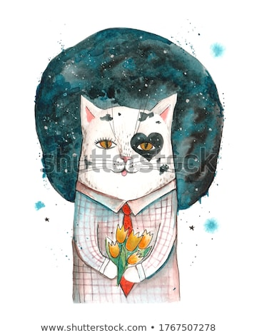 red cat brings a bouquet of flowers Stock photo © ddvs71
