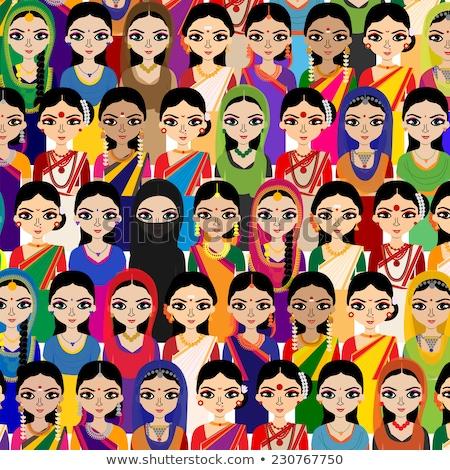 Happy Indian womens in colourful sarees Stock photo © ziprashantzi