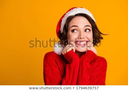 mooie · jonge · vrouw · kerstman · kleding · geschenk · grijs - stockfoto © hasloo
