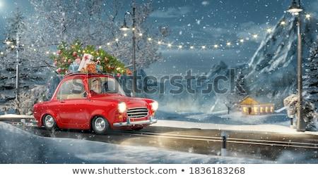 tájkép · mikulás · vezetés · autó · szín · illusztráció - stock fotó © adrenalina