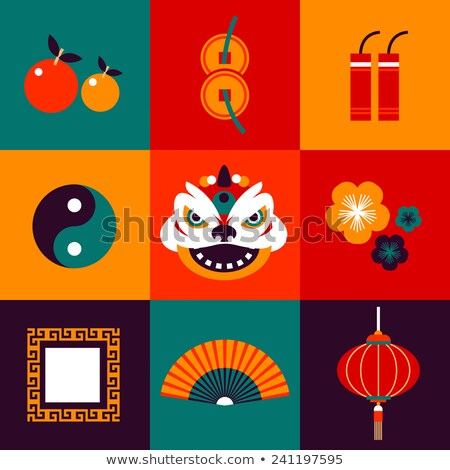 vector flat icons design about china new year in various color stock photo © thanawong