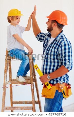 vader · zoon · klaar · bouw · kaukasisch · vader - stockfoto © phakimata