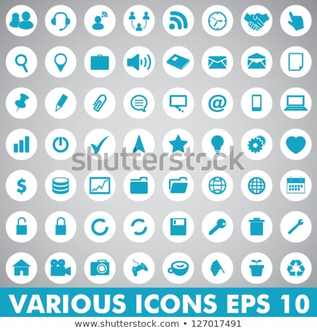 Stock photo: Download Blue Vector Web Icon Set Button