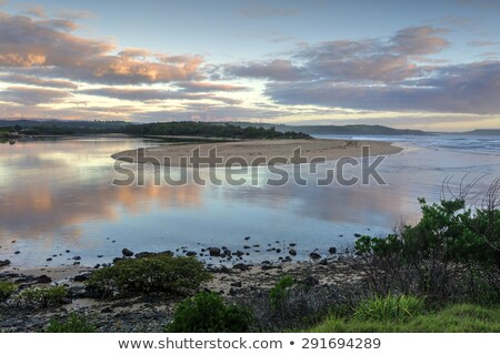 Zonsopgang rivier oceaan entree pittoreske Stockfoto © lovleah