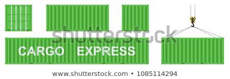international trade   green hanging cargo container stock photo © tashatuvango