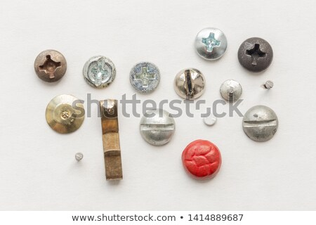 Set of picture hanging hooks and nails Stock photo © backyardproductions