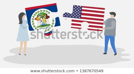 USA Belize zászlók puzzle vektor kép Stock fotó © Istanbul2009