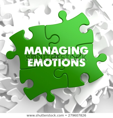 managing emotions on green puzzle stock photo © tashatuvango