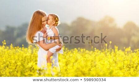Gelbe Blume Mädchen Gesicht Frau tragen Stock foto © ArenaCreative