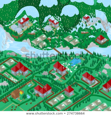 Sheep in the landscape, isometric view Stock photo © teerawit
