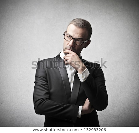 zakenman · twijfelen · gezicht · geïsoleerd · business · mond - stockfoto © fuzzbones0