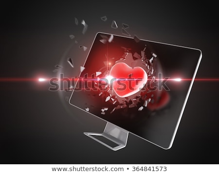 red heart destroy computer screen. Stock photo © teerawit