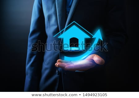 home house icon with arrow up stock photo © blaskorizov
