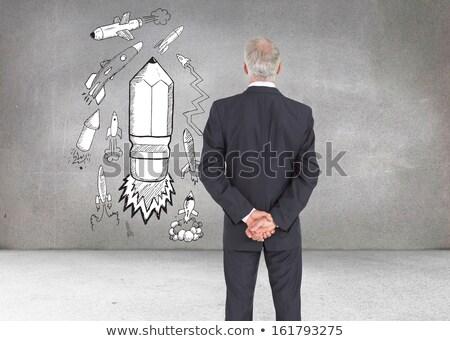 összetett kép hátsó nézet komoly üzletember pózol Stock fotó © wavebreak_media