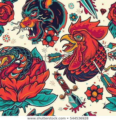 Old School Tattoo Seamless Pattern Stock photo © Voysla
