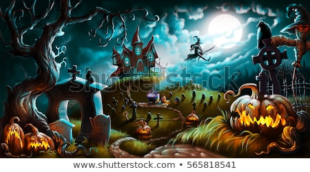 Halloween Background with Pumpkin and Scarecrow Stock photo © WaD