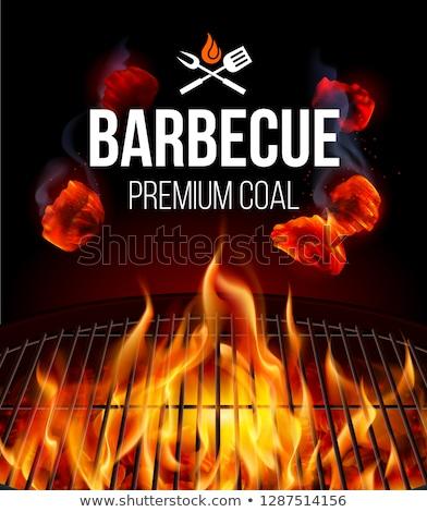 Brandend houtskool grill achtergrond Rood zwarte Stockfoto © ozaiachin