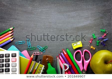 tanszerek · iskolatábla · almák · felső · kilátás · copy · space - stock fotó © almaje