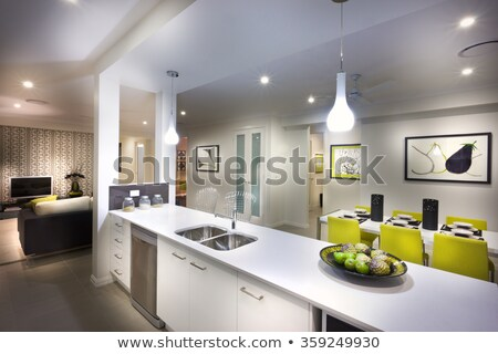 A stylish beautiful kitchen with living room attached Stock photo © jrstock