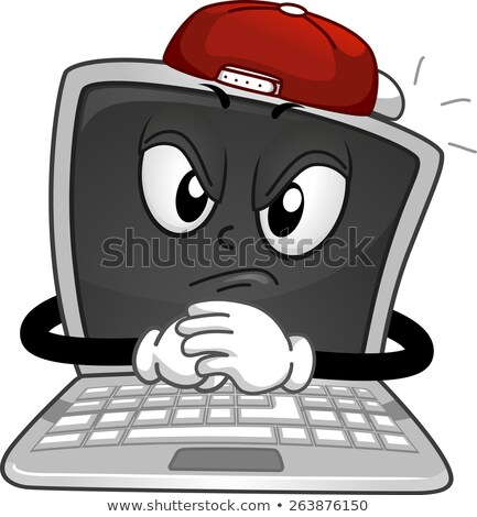 Mascotte laptop online illustratie zoals stereotiep Stockfoto © lenm