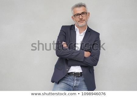 przystojny · mężczyzna · portret · stwarzające · czarny · człowiek - zdjęcia stock © meinzahn