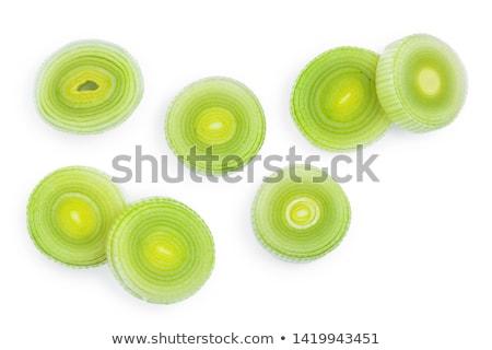 Szeletel friss póréhagyma vágódeszka zöld zöldség Stock fotó © Digifoodstock