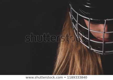 lány · jégkorong · játékos · gyermek · tél · portré - stock fotó © rastudio