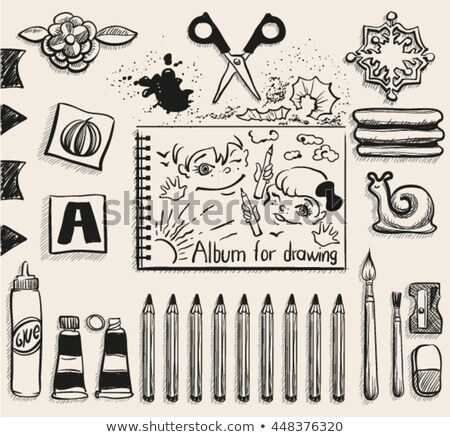School office supplies top view. Scissors, album, pencils, glue, eraser, brush and smudge Stock photo © orensila