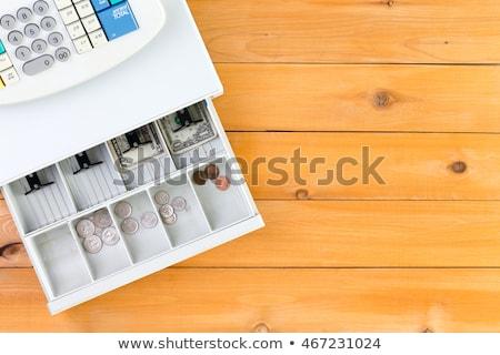 Vide caisse enregistreuse tiroir table haut vers le bas Photo stock © ozgur