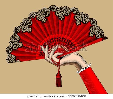 Güzel İspanyolca flamenko kız fan arka plan Stok fotoğraf © carodi