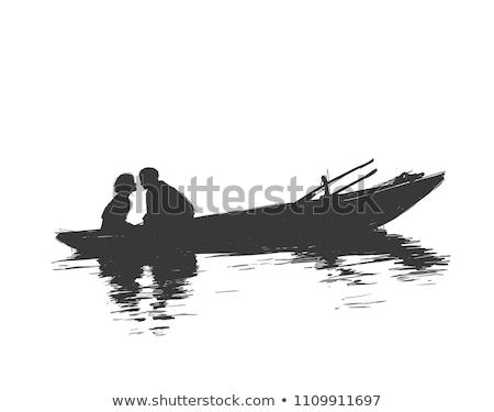Kroki erkekler balık tutma örnek beyaz arka plan Stok fotoğraf © bluering