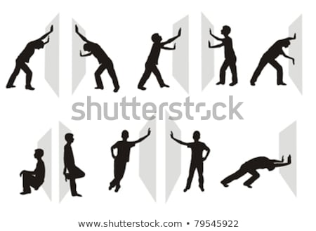 boy silhouette in Pushing Pose Stock photo © Istanbul2009