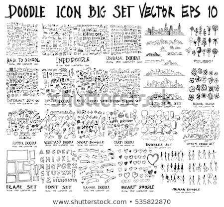 bevásárlókosár · rajz · ikon · vektor · izolált · kézzel · rajzolt - stock fotó © rastudio