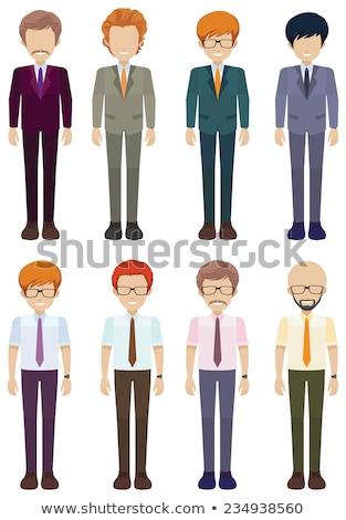 Stockfoto: Acht · mannen · witte · gezicht · ontwerp · menigte