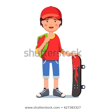 Jongen cap shorts illustratie gelukkig Stockfoto © bluering