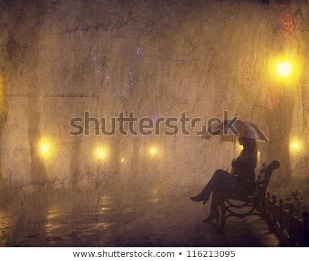 женщину сидят скамейке старый город красивой Сток-фото © deandrobot