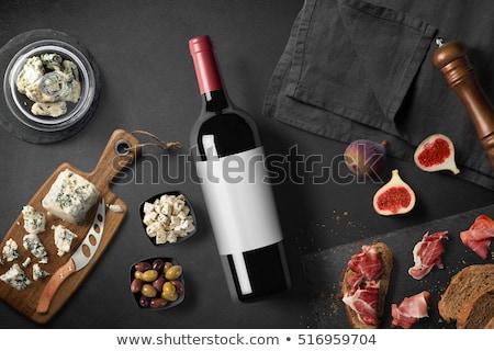 bottiglia · di · vino · bicchiere · di · vino · formaggio · isolato · bianco · alimentare - foto d'archivio © val_th