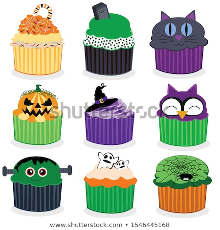 vector set of colorful cupcakes isolated on white background stock photo © maia3000