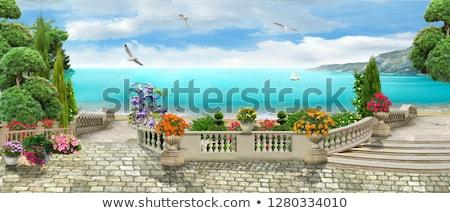 ver · mar · terraço · arquitetura · férias · horizonte - foto stock © simply
