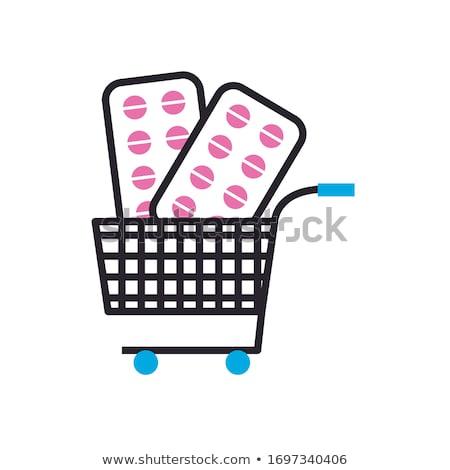 Winkelwagen geneeskunde geïsoleerd zwarte glanzend winkelen Stockfoto © Klinker